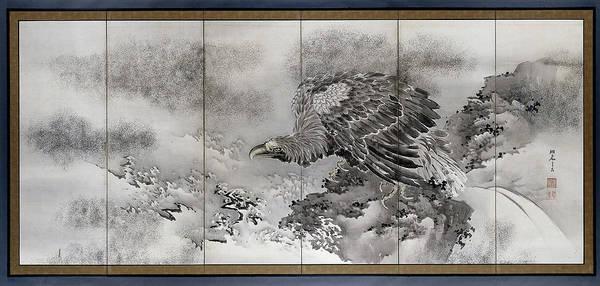 Bald Eagles Drawing - Bald Eagle On A Rock On The Coast, Kishi Ryo by Litz Collection