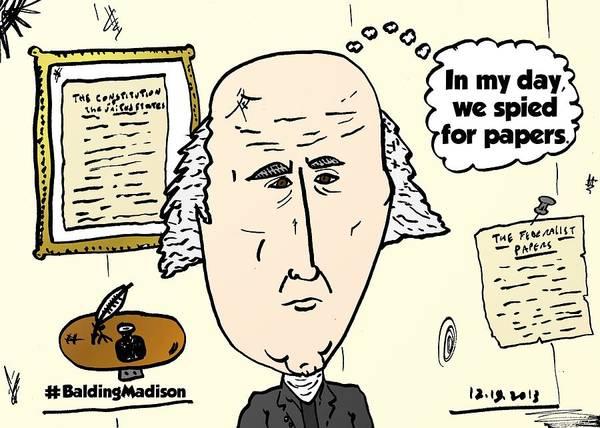 Caricature Mixed Media - Balding President James Madison Comic by OptionsClick BlogArt