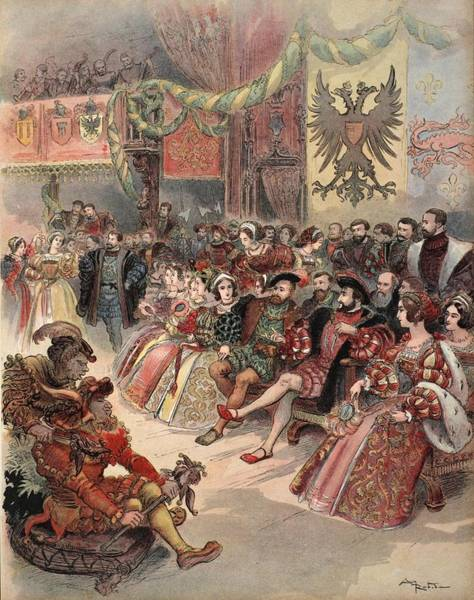 Royal Court Drawing - Ball At The Court, Illustration by Albert Robida