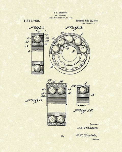 Drawing - Ball Bearing 1919 Patent Art by Prior Art Design