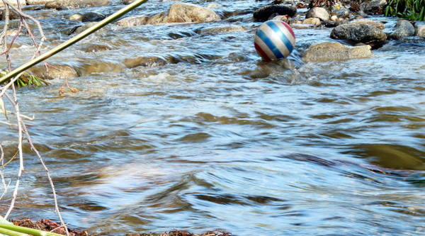Photograph - Ball Floating On Stream by Jeff Lowe