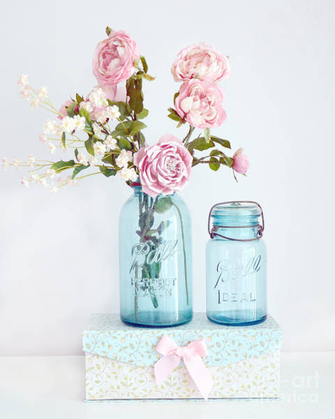 Chic Photograph - Roses In Ball Jars Aqua Dreamy Shabby Chic Floral Cottage Chic Pink Roses In Vintage Blue Ball Jars  by Kathy Fornal