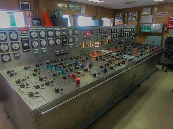 Ballast Control Panel Of The Ocean Valiant Semi Submersible Drilling Rig Art Print