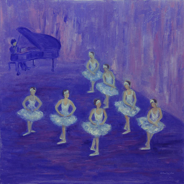 Painting - Ballerina Rehearsal by Xueling Zou