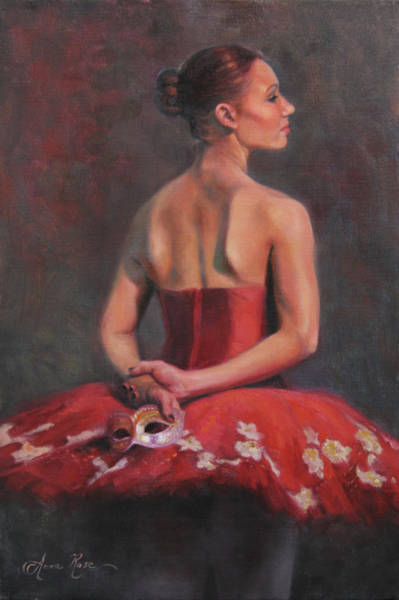 Masquerade Wall Art - Painting - Ballerina With Mask by Anna Rose Bain