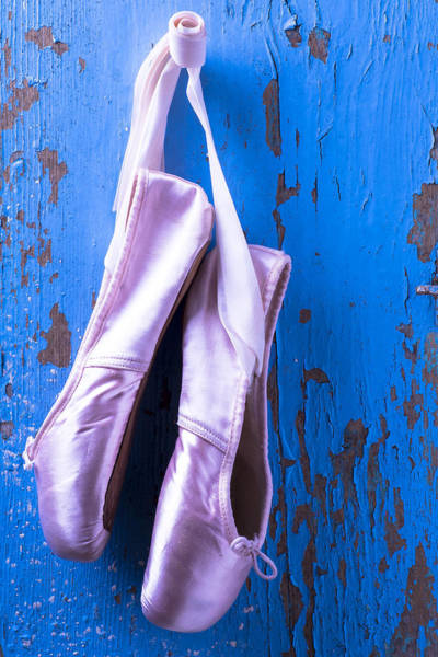 Wooden Shoe Photograph - Ballet Shoes On Blue Wall by Garry Gay