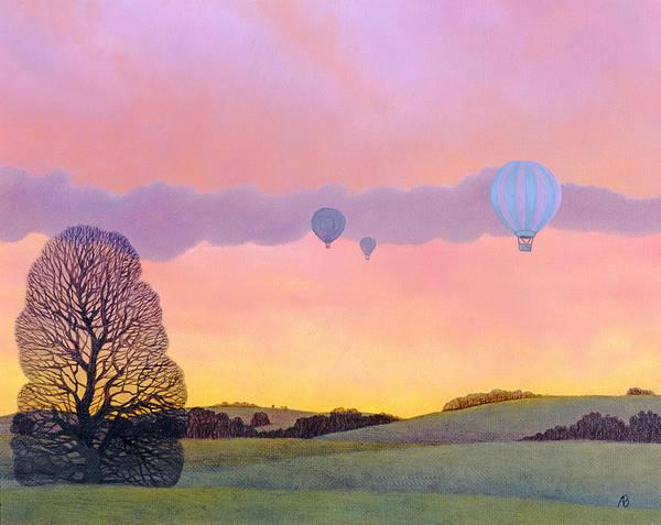 Hot Wall Art - Painting - Balloon Race by Ann Brian