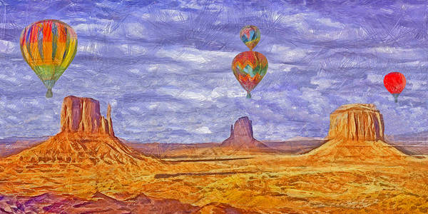 Digital Art - Ballooning Over Monument Valley by Digital Photographic Arts