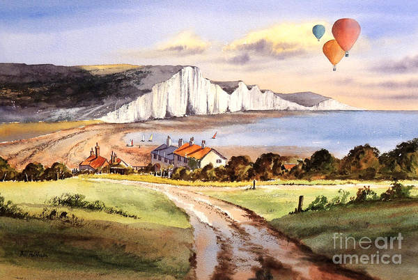 Wall Art - Painting - Ballooning Over The Seven Sisters by Bill Holkham