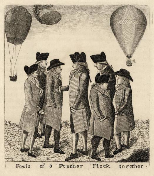 Photograph - Balloonists Cartoon, 1785 by Science Photo Library
