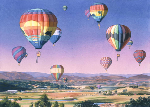Air Balloon Wall Art - Painting - Balloons Over San Dieguito by Mary Helmreich