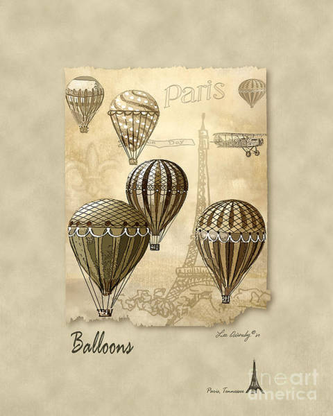 Mixed Media - Balloons With Sepia by Lee Owenby