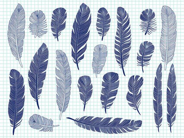 Digital Art - Ballpoint Pen Drawing Bird Feathers Big by Microvone