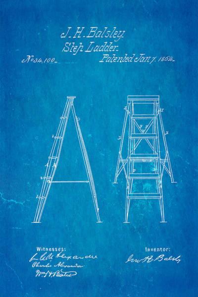 Balsley Step Ladder Patent Art 1862 Blueprint Art Print by Ian Monk