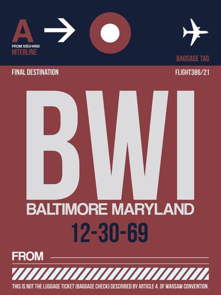 Wall Art - Digital Art - Baltimore Airport Poster 2 by Naxart Studio