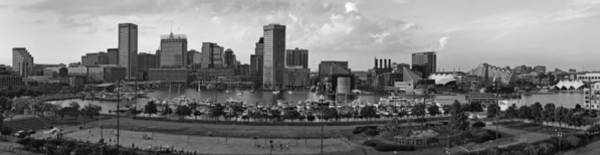 Photograph - Baltimore Harbor Skyline Panorama Bw by Susan Candelario