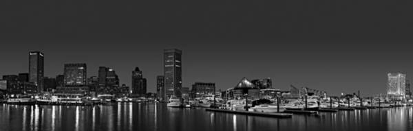 Photograph - Baltimore Harbor Skyline Twilight Panorama Bw by Susan Candelario