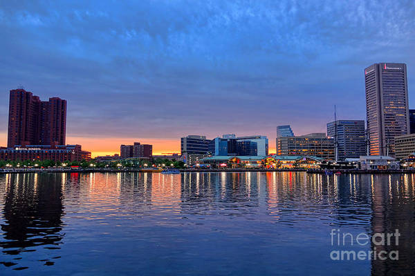 Photograph - Baltimore Inner Harbor At Dusk by Olivier Le Queinec