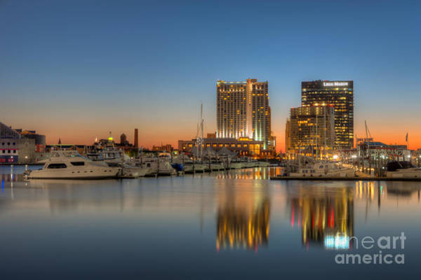 Patapsco Photograph - Baltimore Inner Harbor East Skyline At Dawn I by Clarence Holmes