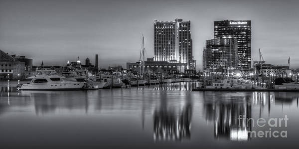 Photograph - Baltimore Inner Harbor East Skyline At Dawn Panoramic II by Clarence Holmes
