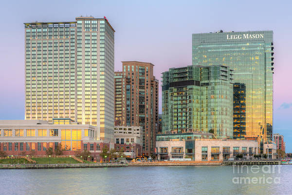 Photograph - Baltimore Inner Harbor East Skyline At Twilight I by Clarence Holmes