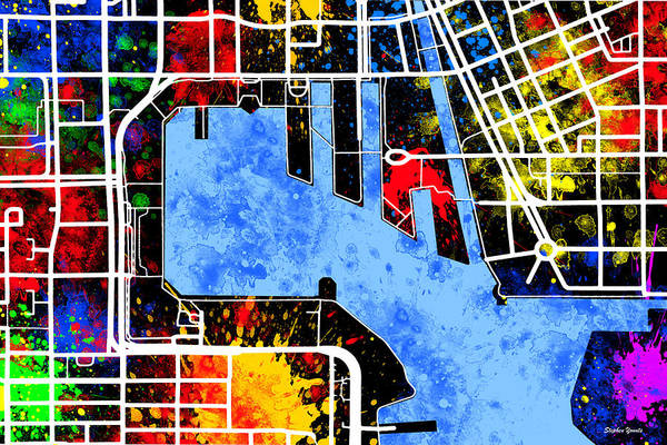 Wall Art - Digital Art - Baltimore Inner Harbor Map by Stephen Younts