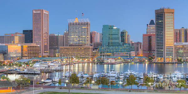 Photograph - Baltimore Inner Harbor Skyline At Dawn Panoramic I by Clarence Holmes
