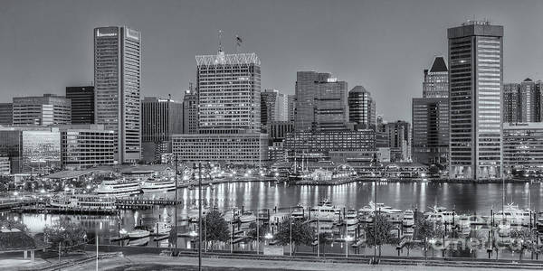 Photograph - Baltimore Inner Harbor Skyline At Dawn Panoramic II by Clarence Holmes