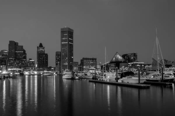 Photograph - Baltimore Inner Harbor Skyline Reflections Bw by Susan Candelario