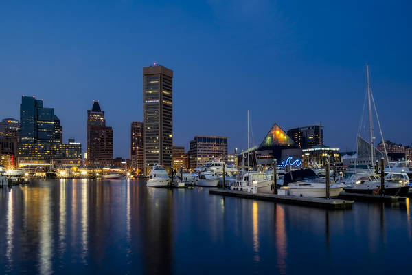 Photograph - Baltimore Inner Harbor Skyline Reflections by Susan Candelario