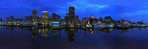 Photograph - Baltimore Skyline At The Harbor At Night by Sheila Kay McIntyre