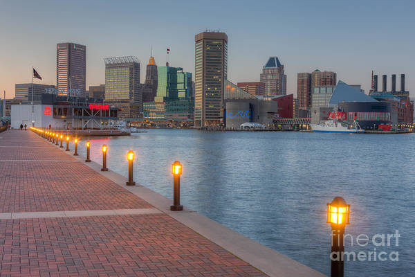 Baltimore Skyline At Twilight I Art Print