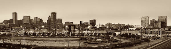 Photograph - Baltimore Skyline Panorama In Sepia by Susan Candelario