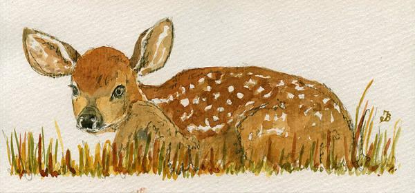 Cub Painting - Bambi Deer by Juan  Bosco