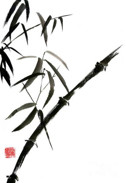 Wall Art - Painting - Bamboo Japanese Chinese Sumi-e Suibokuga Tree Watercolor Original Ink Painting by Mariusz Szmerdt