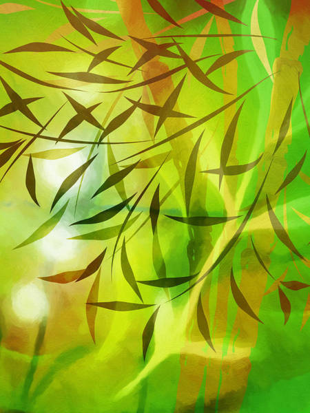 Illuminated Digital Art - Bamboo Light by Lutz Baar