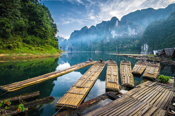 Raft Photograph - Bamboo Rafting On River by Suttipong Sutiratanachai