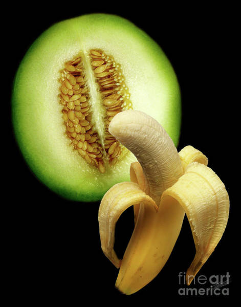 Juxtaposition Photograph - Banana And Honeydew by Peter Piatt