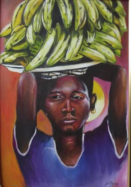 Lagos Painting - Banana Hawker by Olaoluwa Smith