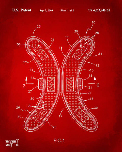 Wall Art - Digital Art - Banana Protection Device Patent Red by Nikki Marie Smith