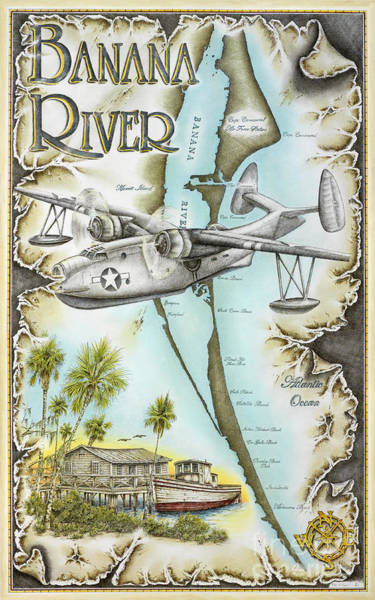 Goose Drawing - Banana River Flyer by Mike Williams