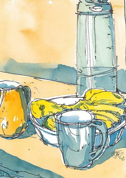 Painting - Bananas And Tea 01 by Cameron Berglund