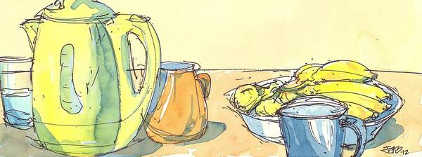 Painting - Bananas And Tea 02 by Cameron Berglund