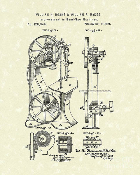Drawing - Band Saw 1871 Patent Art by Prior Art Design