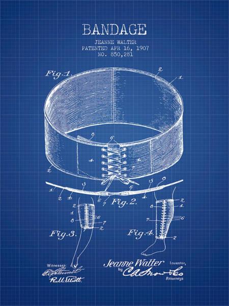 Bandage Wall Art - Digital Art - Bandage Patent From 1907 - Blueprint by Aged Pixel