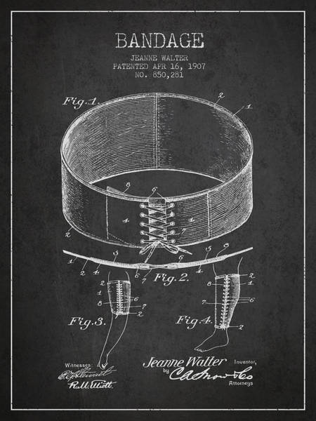 Bandage Wall Art - Digital Art - Bandage Patent From 1907 - Charcoal by Aged Pixel