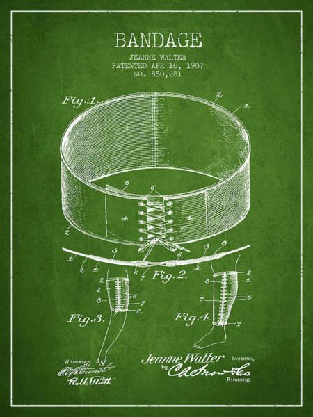 Bandage Wall Art - Digital Art - Bandage Patent From 1907 - Green by Aged Pixel