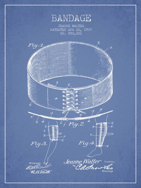 Bandage Wall Art - Digital Art - Bandage Patent From 1907 - Light Blue by Aged Pixel