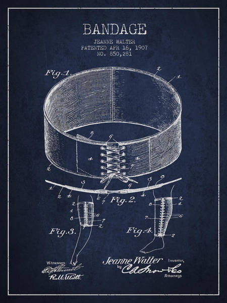 Bandage Wall Art - Digital Art - Bandage Patent From 1907 - Navy Blue by Aged Pixel