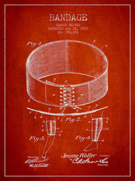 Bandage Wall Art - Digital Art - Bandage Patent From 1907 - Red by Aged Pixel